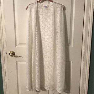 Lularoe Joy cream lace long vest
